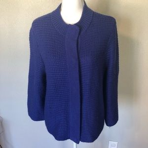 CHICOS Sweater Cardigan WOOL Blue Sz 3 Womens XL